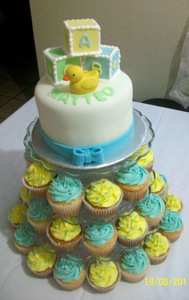 Pasteles Fondant | Torre De Cupcakes Arriba Pastel De Fondant 6 Para 12  Personas Abajo 40