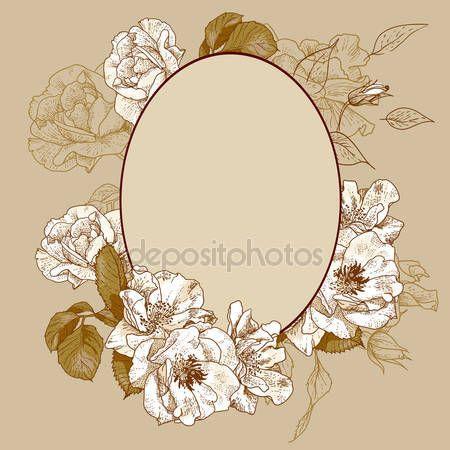 Скачать - Винтажные розы овальная рамка — стоковая иллюстрация #27148457
