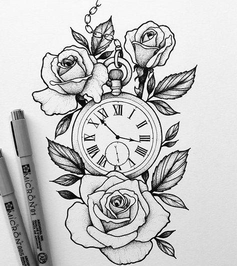 tatuagem; tatuagem de rosa tatuagem de relógio