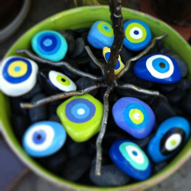 Evil Eye painted rocks - to keep away the evil spirits