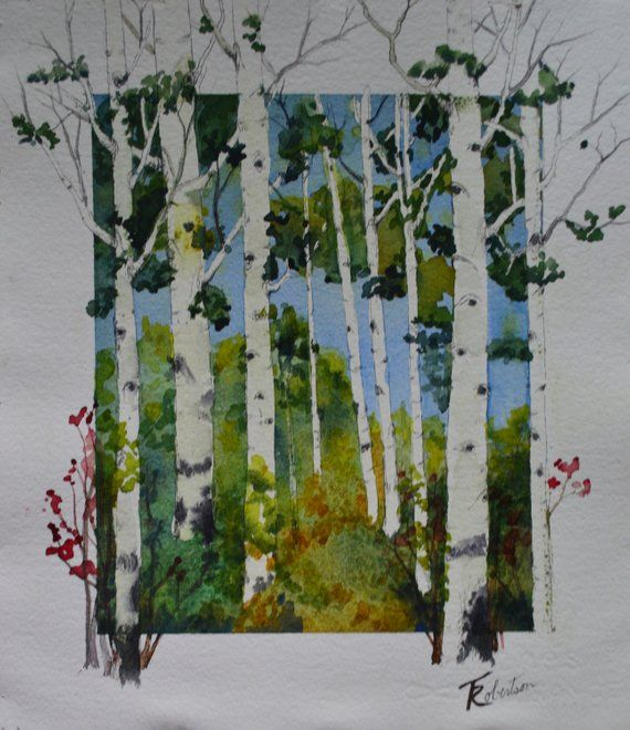 Original Watercolor Painting Quaking Aspen Fine Art Paintings