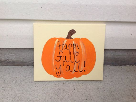 Happy fall yall pumpkin canvas by PaintingWifey on Etsy