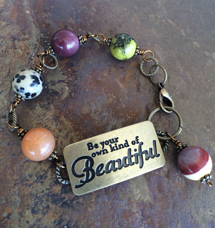 Brass Plate Message Gemstone Bracelet by circleofstonesjewel on Etsy