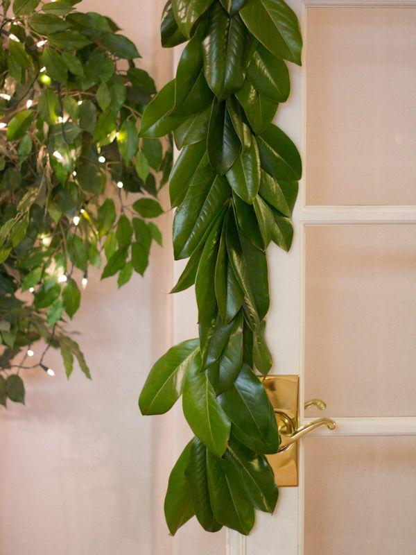 DIY Magnolia Leaf Garland...use any greenery to make Christmas decorations