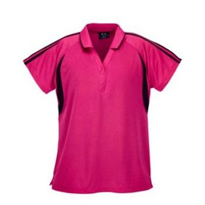 Ladies Jersey Knit Polo Min 25 - 215gsm cooldry polyester polo with open v-placket and 2 press studs. #PoloShirts  #PromotionalProducts  #PromotionalPoloShirt  #CooldryPoloShirts #LadiesPoloShirt