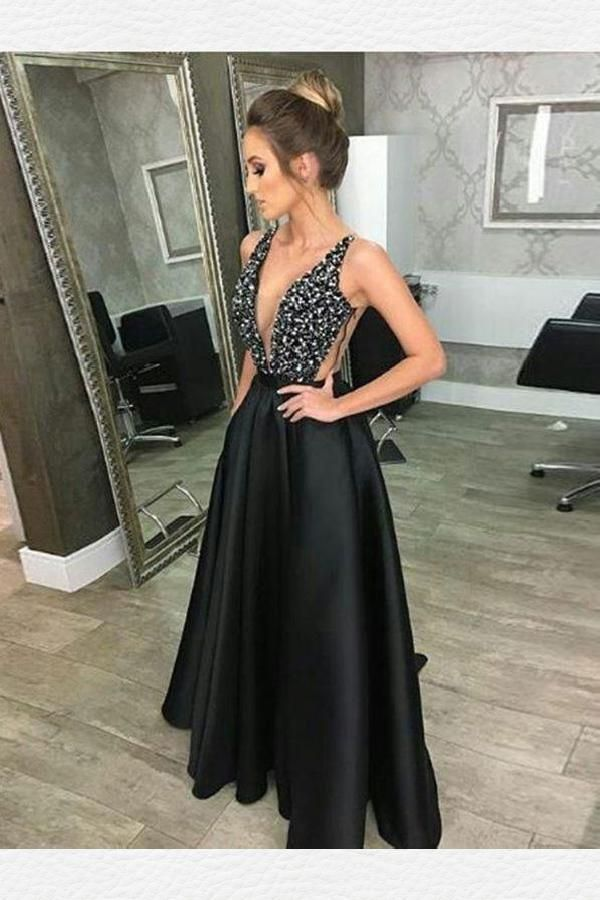 1fe61c1545e5f V-Neck Prom Dress, Sleeveless Prom Dress, Prom Dress V-neck, 2018 ...