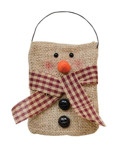 X2  $ 2.99  KP Creek Gifts - Burlap Snowman Bag