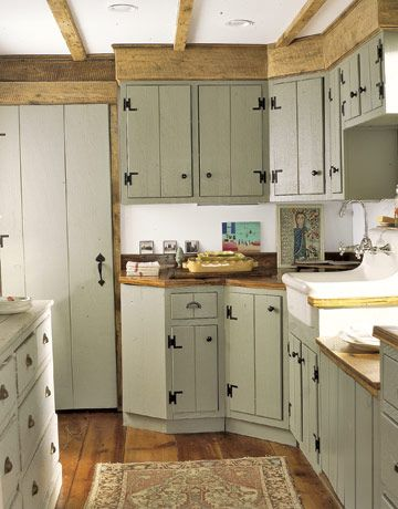 Cabinet Color Idea New Green Cabinets In This Old Farmhouse Kitchen Are Outfitted To Look Like They Could Be The Originals