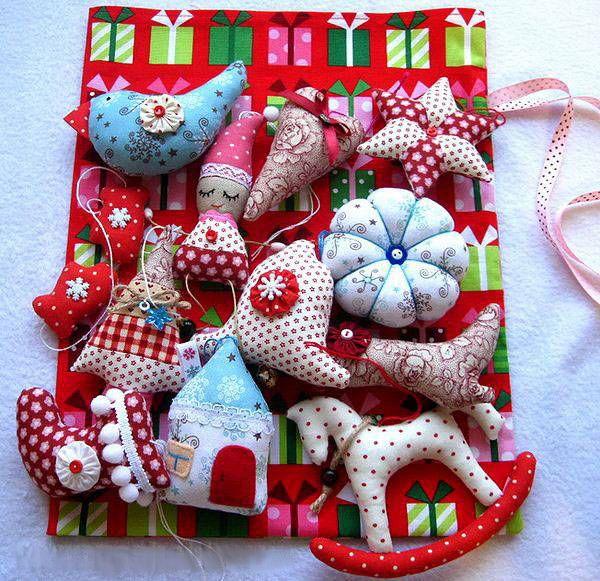 Ёлочные игрушки из ткани (своими руками)   Рождественские ...