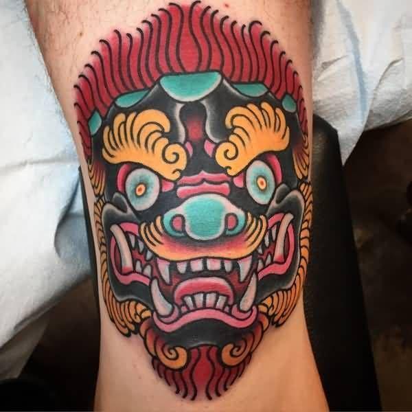 Traditional Foo Dog Tattoo Design