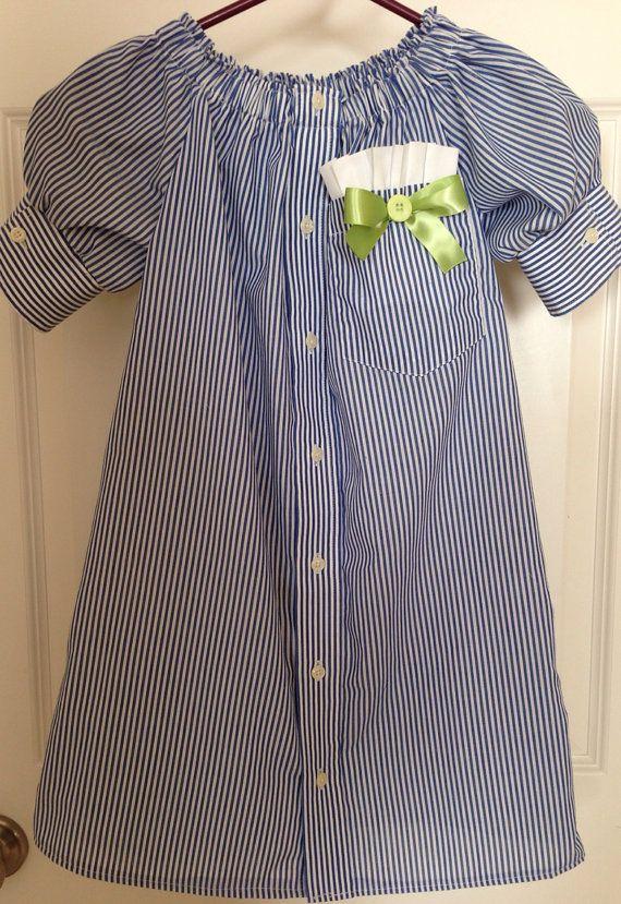 Girls Repurposed Men's Shirt Dress size 6 by HaleyLaine on Etsy, $18.00