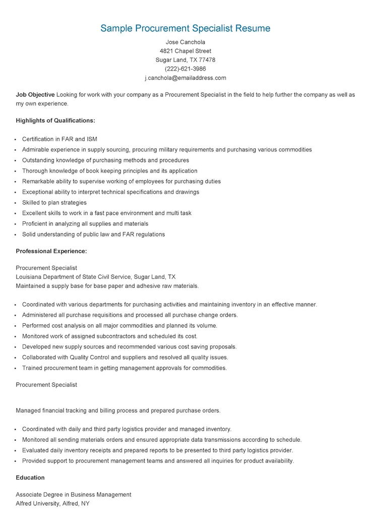 Sample Procurement Specialist Resume