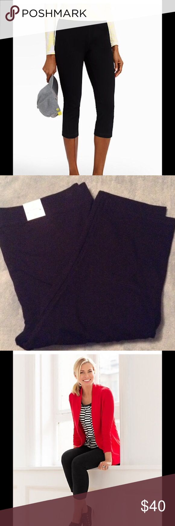 """Talbots Black Yoga Crop Pants The elastic waistband sits right below the belly button for optimal coverage that's easy-to-wear in comfortable cotton/spandex. Now available in an of-the-moment length, these ankle-grazing pants create the illusion of longer legs and pair perfectly with sporty sneakers. Pulls on Elastic waistband Inseam: Misses 21""""; Petite 19""""; Woman 21""""; Woman Petite 19"""" 89% Cotton/11% Spandex Machine Wash Imported Talbots Pants Ankle & Cropped"""