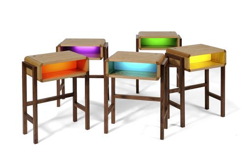 The Night Light Table is a collaboration between designers Charlie Crowther-Smith and Richard Bannister. They wanted to design something that emitted an ambient glow that also functioned as a piece of furniture. It comes with walnut legs and a choice of ash or oak top (pictured). It is available in the rainbow of colors shown.