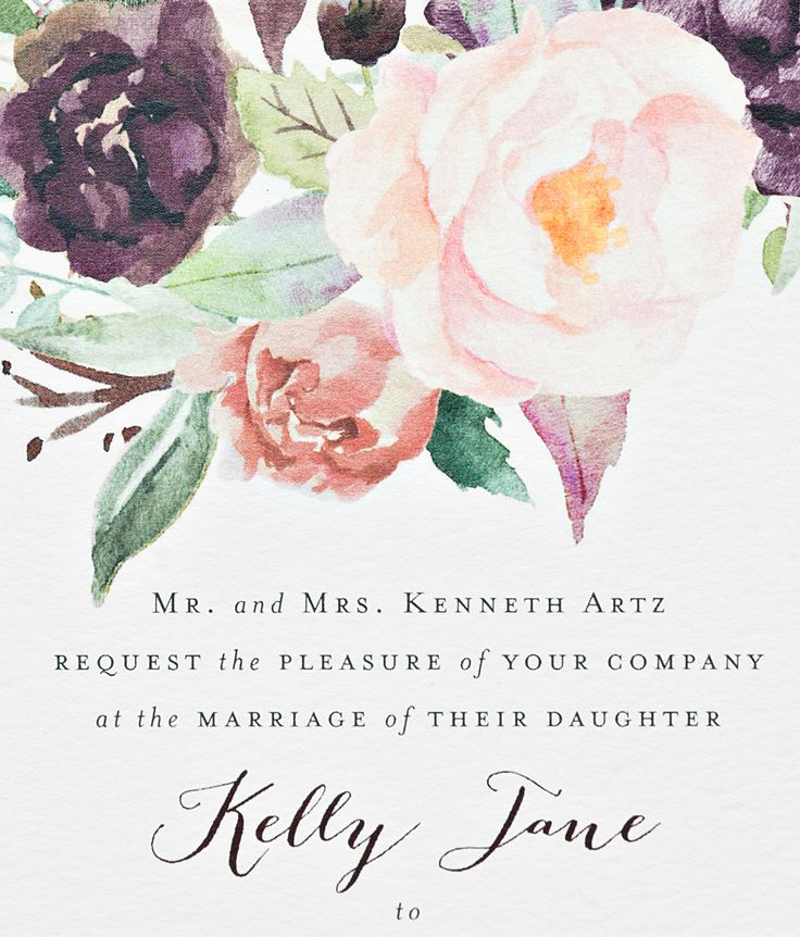 New York City Inspired Floral Watercolor Wedding Invitations by Suite Paperie