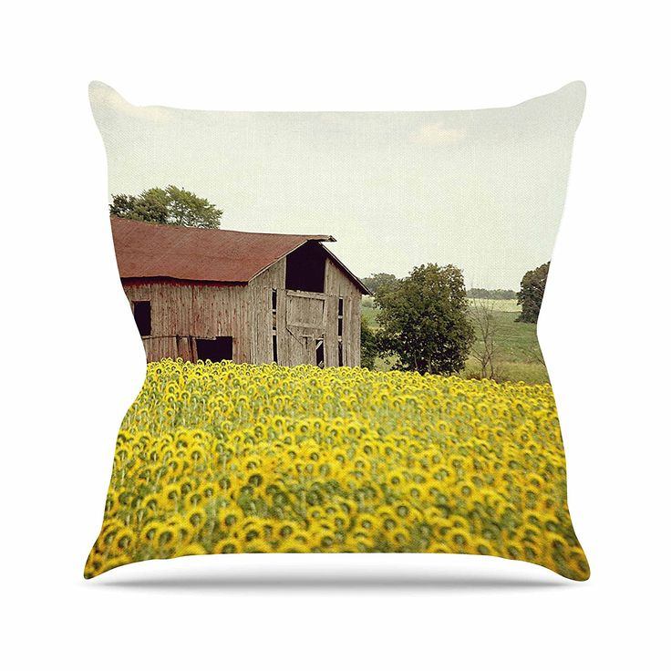 KESS InHouse AT1040AOP03 18 x 18-Inch 'Angie Turner Field Of Sunflowers Yellow Nature' Outdoor Throw Cushion - Multi-Colour ** Want additional info? Click on the image. #GardenFurnitureandAccessories