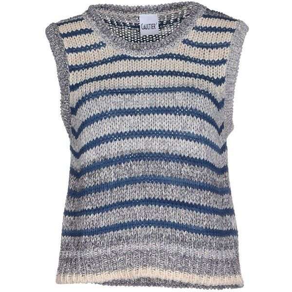 Jean Paul Gaultier Jumper ($99) ❤ liked on Polyvore featuring tops, sweaters, blue, blue sleeveless top, jean paul gaultier sweaters, sleeveless sweater, jean paul gaultier top and sleeveless tops