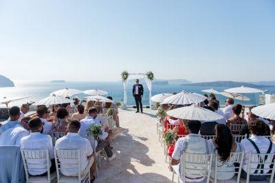 Vintage elegant  wedding at Cavo Ventus, Santorini  by Phosart Photography & Cinematography