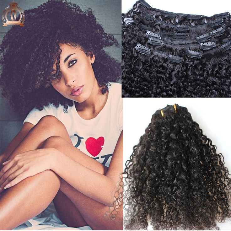 Afro Kinky Curly Clip In Human Hair Extensions 7pcsset Natural