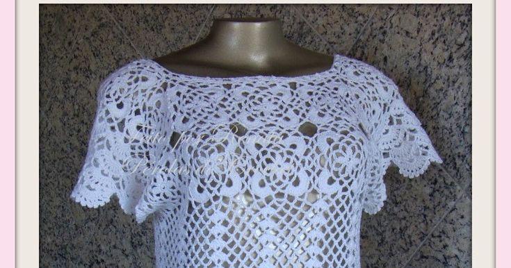 Blusa de crochet estilo renda romântica.      Manequim 42/44 (verificar medidas)   Pode ser feita em outras cores.   Encomende a sua p...