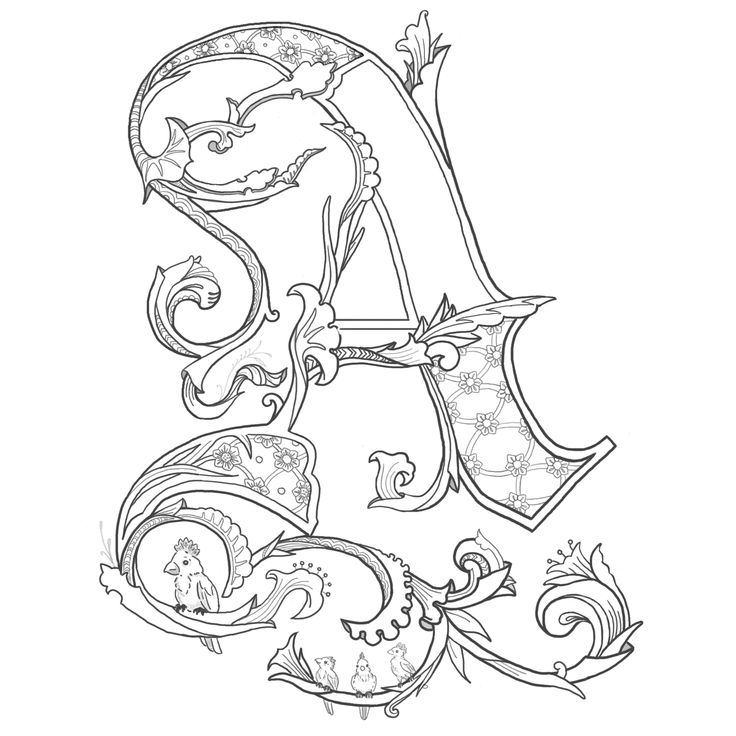 24 best illuminated letters images on Pinterest Illuminated - best of medieval alphabet coloring pages
