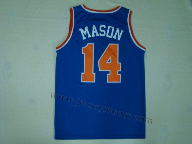 competitive price 4836f a2f0f New York Knicks #14 Anthony Mason Throwback Blue Jersey ...