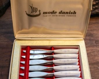Mid Century Modern 12 Piece Knife Set ~ Mode Danish by Sheffield England ~ Mid Century Silverware ~ Stainless Steel Vintage Steak Knives -    Edit Listing  - Etsy