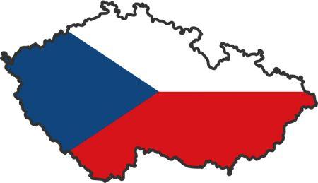 Dit is de vorm van Tsjechië die is op gevuld is met de Tsjechische vlag
