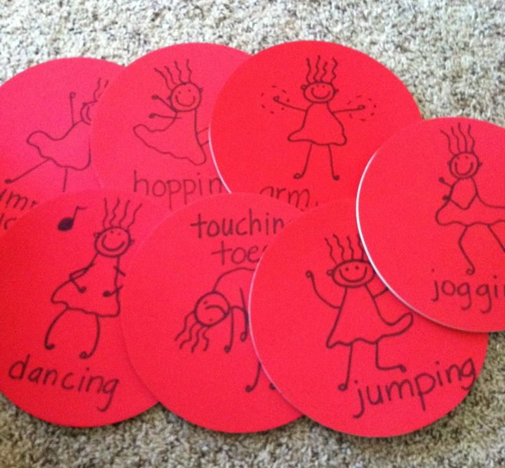 Preschoolers will hop, jump, run and stretch their way to coordination and physical fitness with these activity mats. I used Ikea mouse pads ($.99 each) and then drew cute lil stick figures on them. Add music or a die and you can create fun and active games they'll love.