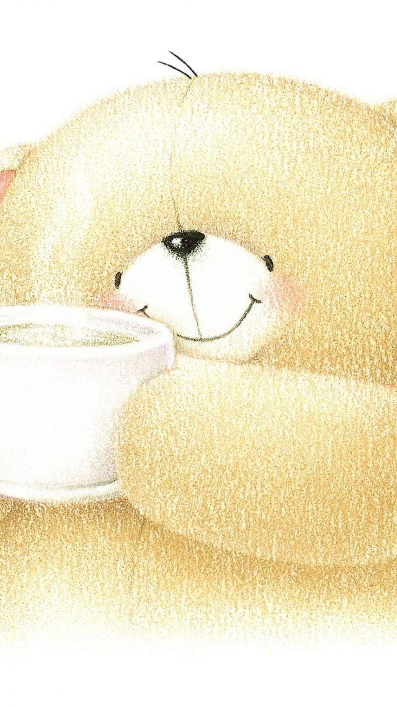 750x1334 Wallpaper bear, art, cup, cute