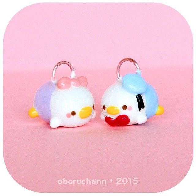 Polymer Clay Disney Donald & Daisy Duck Tsum Tsums by Oborochann