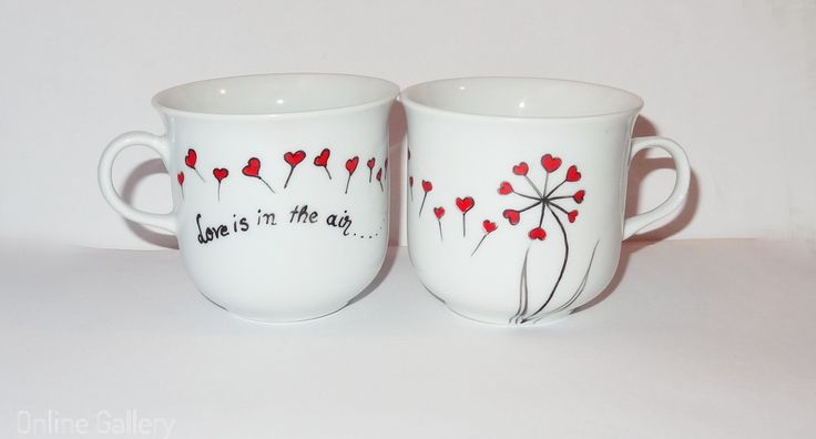 Cesti pictate manual - #Love is in the air #handmade #painted #couple #mugs #Valentines