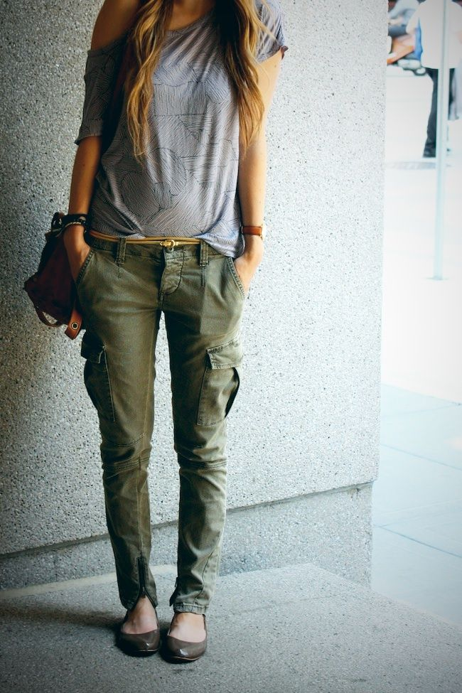 Asymmetrical shirt and green cargo pants. lace up boots instead of flats.. hate flats
