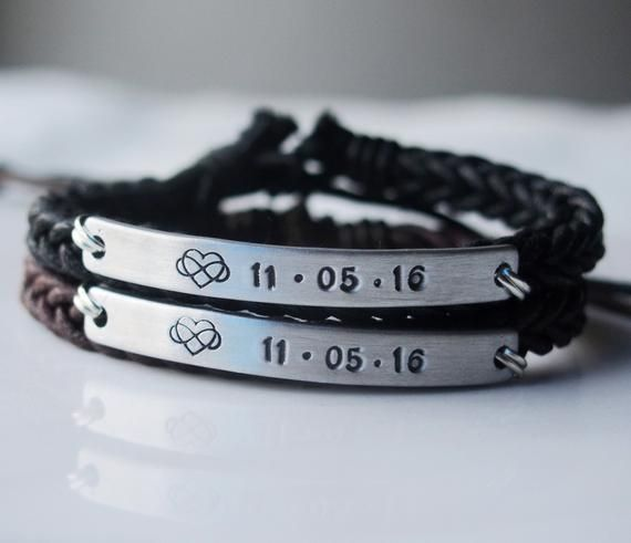 Infinity Love Anniversary gifts for couples gifts, couple anniversary date bracelet, anniversary bracelet, Braided leather, couple bracelets