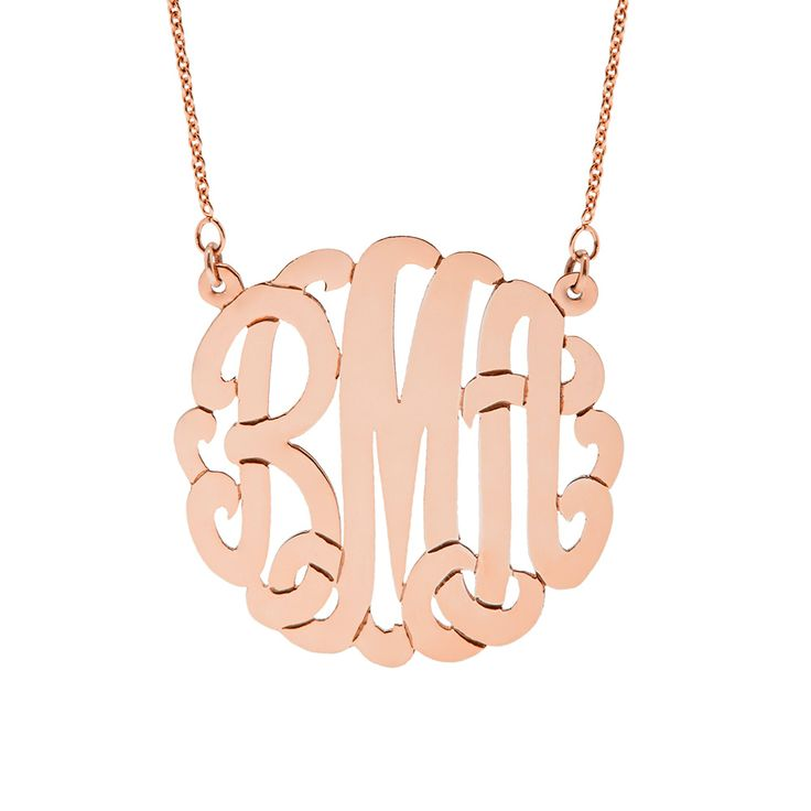 Rose Gold Plated Monogram Necklace! Personalize a monogram necklace in rose gold with your initials. The rose gold plated monogram necklace makes a statement!