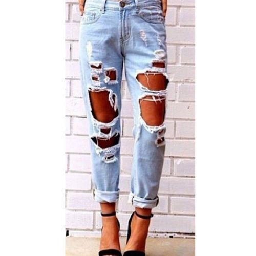 New Womens Destruído Rasgado Angustiado Magro Calças Jeans Boyfriend Jeans Calças de Algodão
