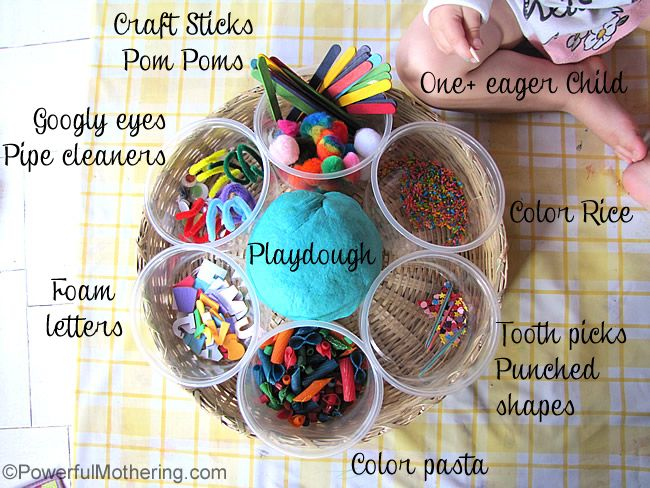Simple play invitation to create with playdough