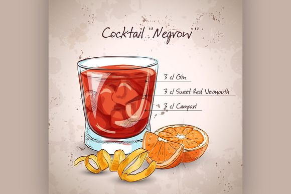 Negroni alcoholic cocktail by Netkoff on Creative Market