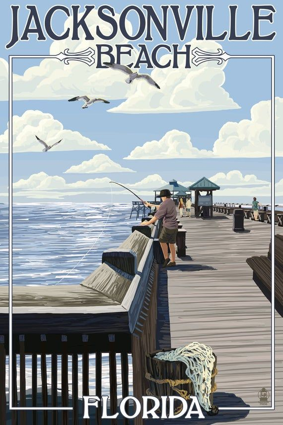 Lantern Press Postcard Montage Scenes Jacksonville Beach Florida