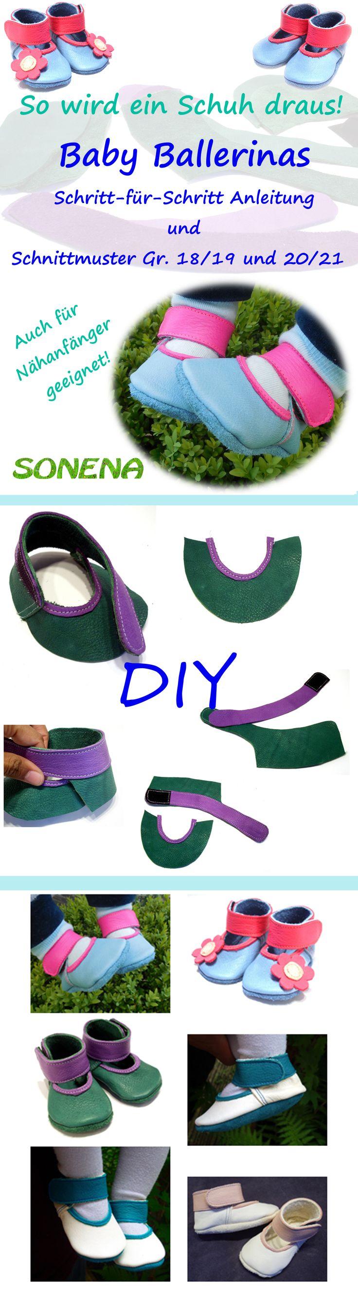 DIY  Lederpuschen Baby Ballerinas / Ballerinapuschen selber nähen aus Leder - Schnittmuster und farbig bebilderte Schritt für Schritt Anleitung als pdf - auch für Nähanfänger geeignet - Sonena - Lederschluppen Babyschuhe Krabbelschuhe Lauflernschuhe