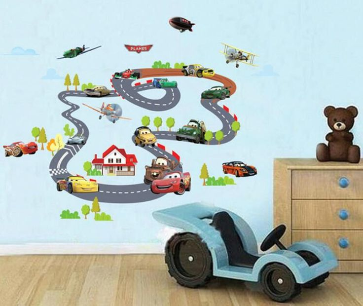Cartoon Highway Track Car Wall Stickers Part 79