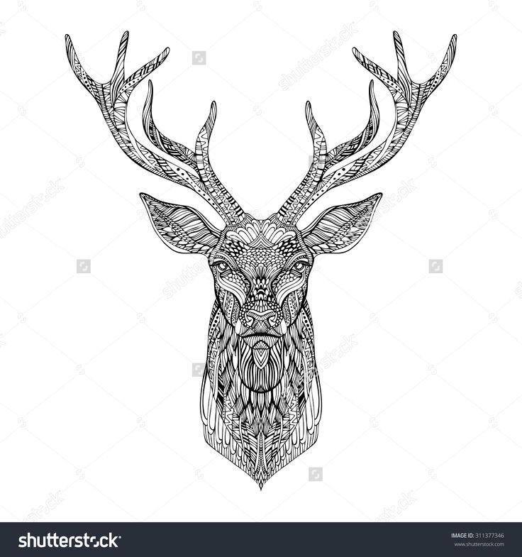 Deer Head Stylized In Zentangle Style. Tribal Tattoo Design. Vector…