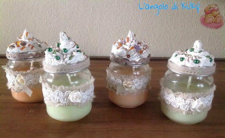 Candele colorate e profumate in vasetto di vetro decorato for Candele colorate