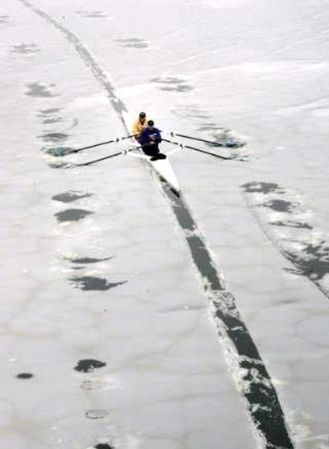 """everyone on Tumblr is talking about """"race season"""" and on-water rowing ... my river is still frozen solid :-("""