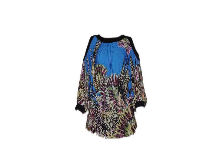 Çiçek Desenli Büzgülü Lacivert Bluz