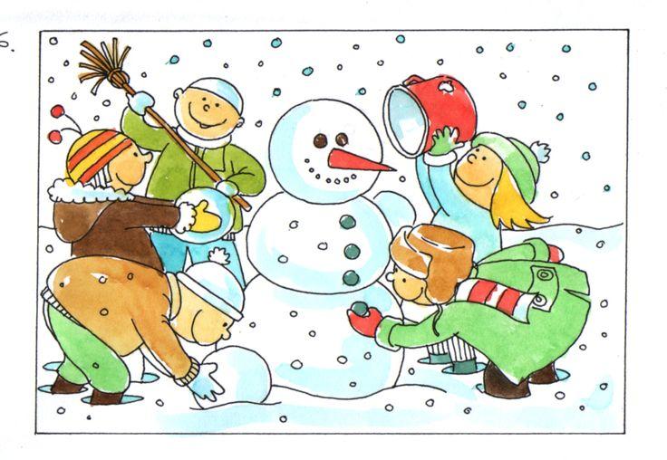 Praatplaat sneeuw, sneeuwpop en winterkleren