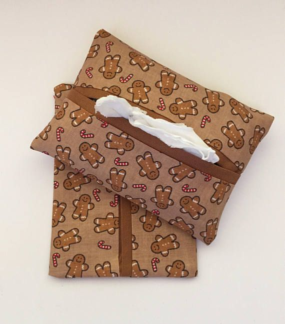 Gingerbread Man Fabric Purse Tissue Holders, Handmade, Kleenex Holders, Tissue Cover, gift under 10, Purse Accessory, Tissue Case