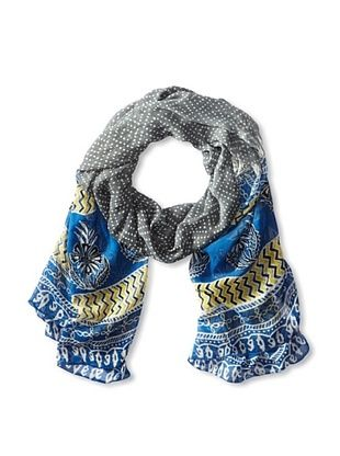 59% OFF MILA Trends Women's Chiffon Bandini/Hand Block Print Scarf, Grey/Blue, One Size