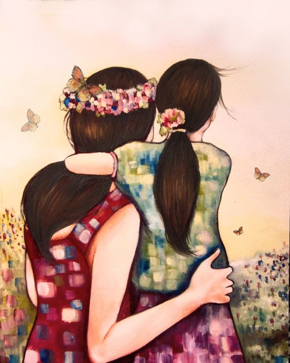Mother daughter art print gift idea mother's by claudiatremblay