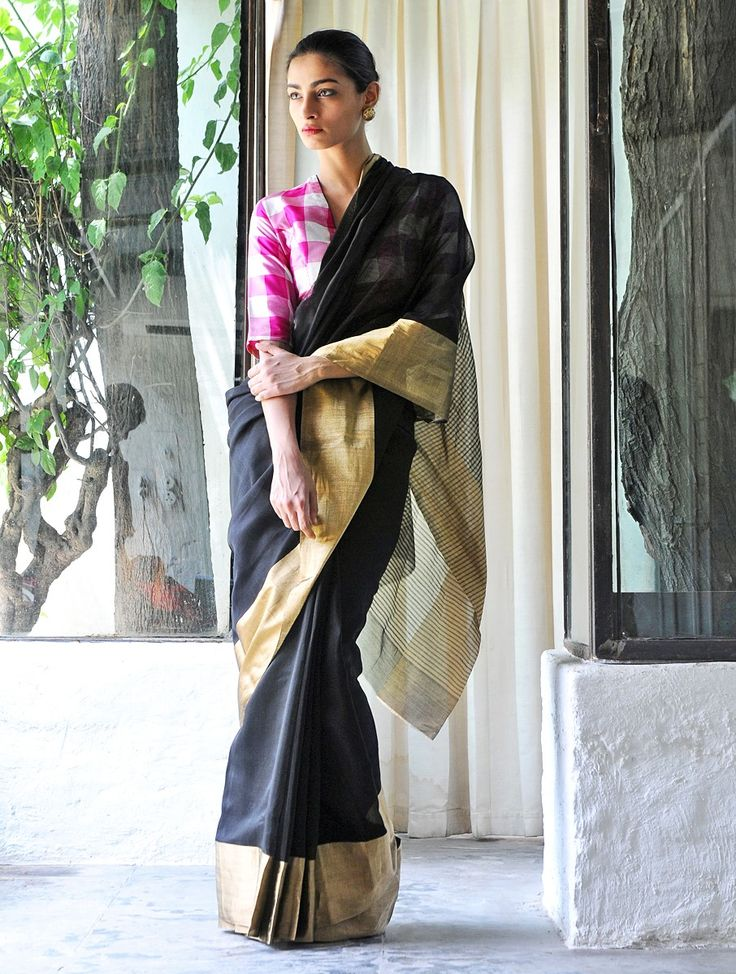 Buy Rangeen Black Cotton Silk Zari Handwoven Saree by Raw Mango Online at Jaypore.com